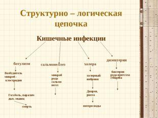 Структурно – логическая цепочка Кишечные инфекции ботулизм сальмонеллез холер