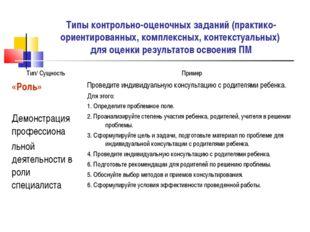 Типы контрольно-оценочных заданий (практико-ориентированных, комплексных, кон