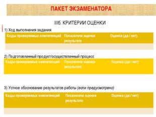 IIIб. КРИТЕРИИ ОЦЕНКИ 1) Ход выполнения задания 2) Подготовленный продукт/ос