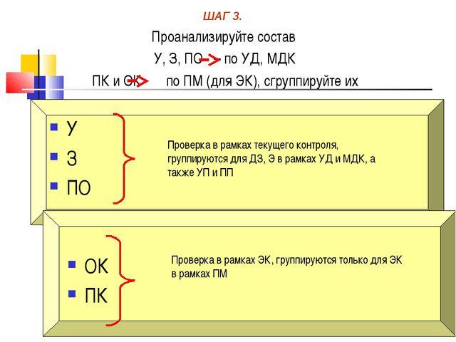 Проверка в рамках текущего контроля, группируются для ДЗ, Э в рамках УД и МДК...