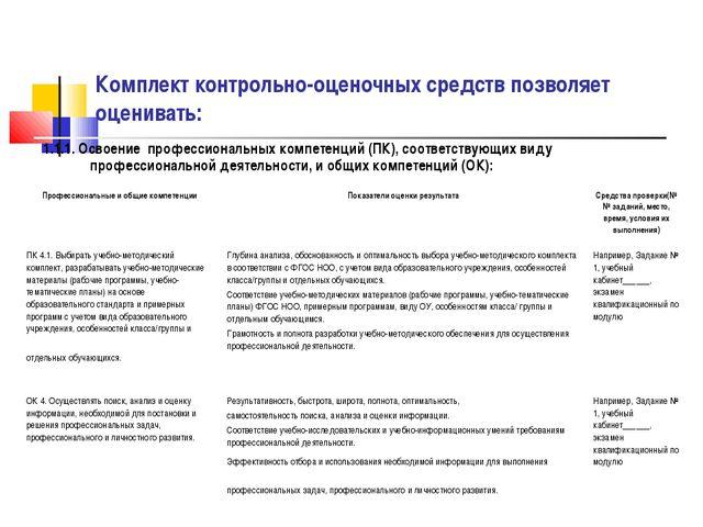 Комплект контрольно-оценочных средств позволяет оценивать: 1.1.1. Освоение пр...
