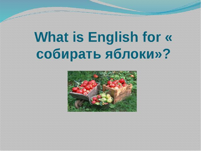 What is English for « собирать яблоки»?