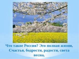 Что такое Россия? Это полная жизни, Счастья, бодрости, радости, света весна,