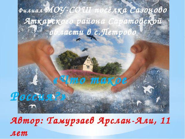 Филиал МОУ-СОШ посёлка Сазоново Аткарского района Саратовской области в с.Пе...