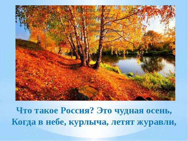 Что такое Россия? Это чудная осень, Когда в небе, курлыча, летят журавли,