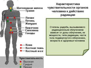Характеристика чувствительности органов человека к действию радиации Степень