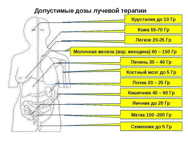 Допустимые дозы лучевой терапии Хрусталик до 10 Гр Кожа 55-70 Гр Легкое 20-25...