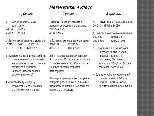 Математика. 4 класс 1 уровень 2 уровень 3 уровень Выполни сложение и вычитан...