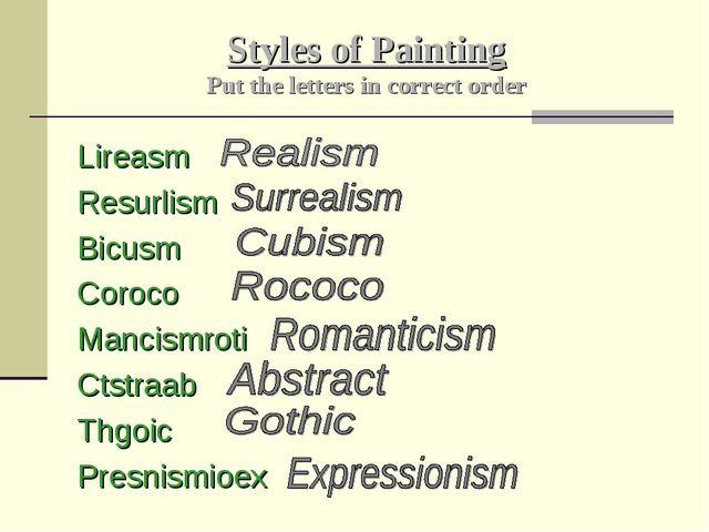 Styles of Painting Put the letters in correct order Lireasm Resurlism Bicusm...