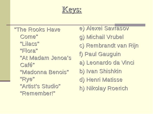 "Keys: ""The Rooks Have Come"" ""Lilacs"" ""Flora"" ""At Madam Jenoa's Café"" ""Madonna..."