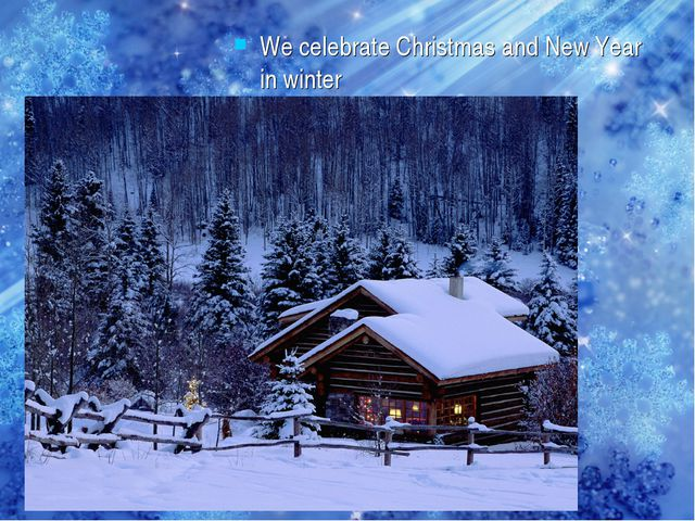 We celebrate Christmas and New Year in winter