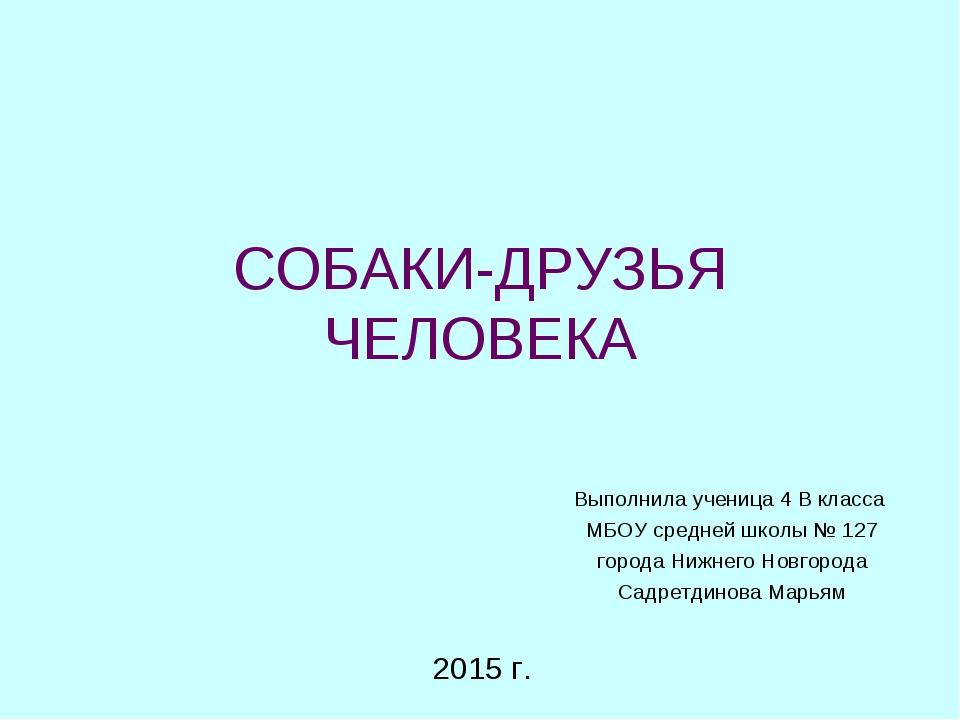СОБАКИ-ДРУЗЬЯ ЧЕЛОВЕКА Выполнила ученица 4 В класса МБОУ средней школы № 127...