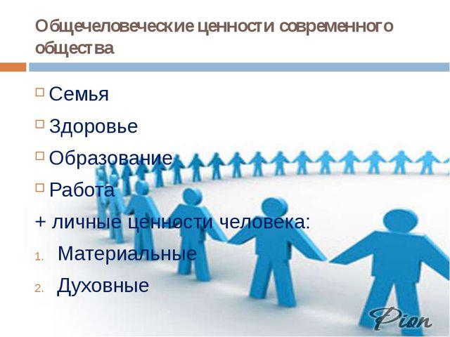 Общечеловеческие ценности современного общества Семья Здоровье Образование Ра...