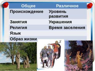 Общее Различное Происхождение Уровень развития Занятия Украшения Религия Врем