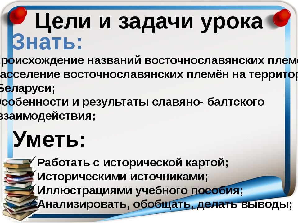 Цели и задачи урока Знать: Уметь: Происхождение названий восточнославянских п...