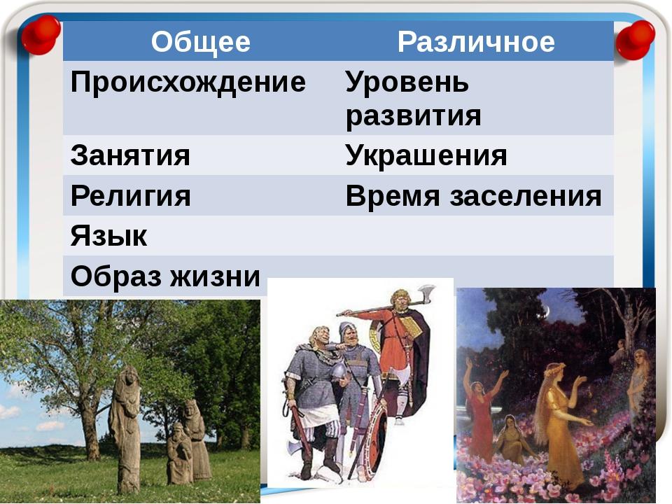 Общее Различное Происхождение Уровень развития Занятия Украшения Религия Врем...