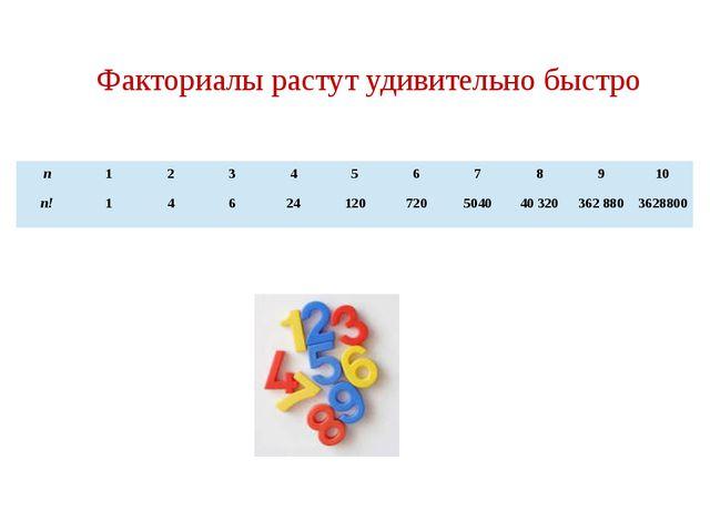 Факториалы растут удивительно быстро n 1 2 3 4 5 6 7 8 9 10 n! 1 4 6 24 120 7...