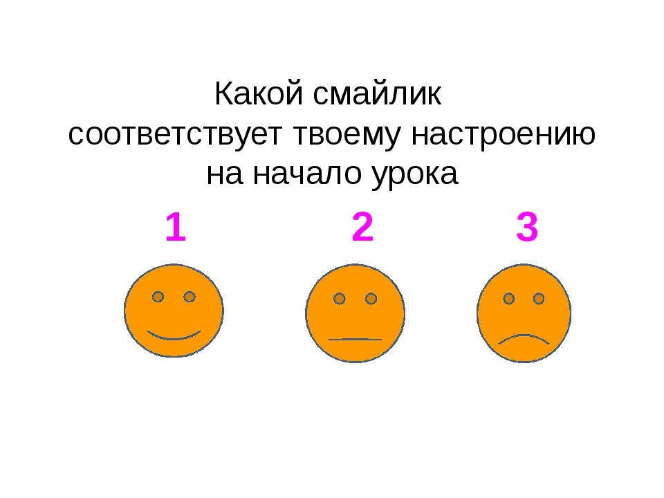 Какой смайлик соответствует твоему настроению на начало урока 1 2 3