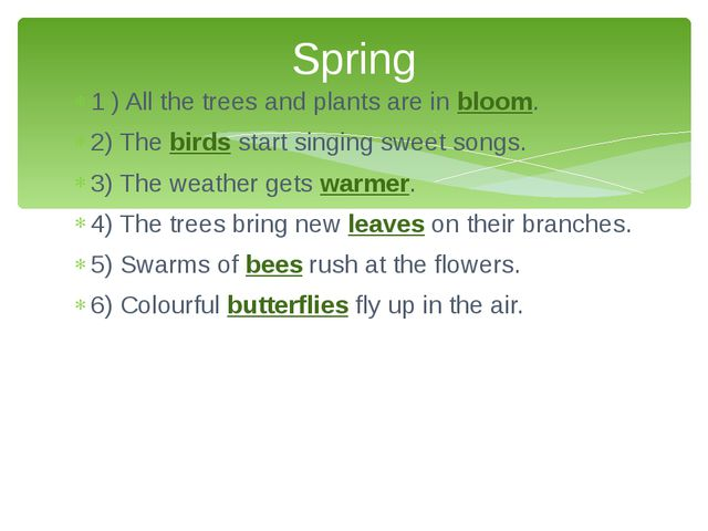 1 ) All the trees and plants are in bloom. 2) The birds start singing sweet s...
