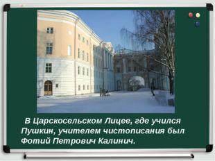 В Царскосельском Лицее, где учился Пушкин, учителем чистописания был Фотий П