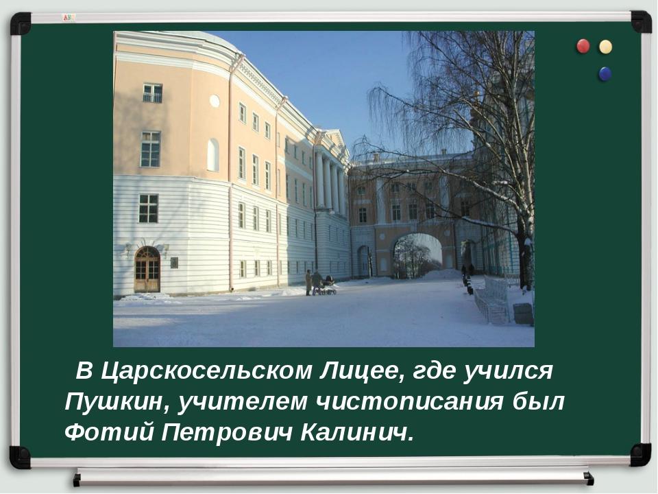 В Царскосельском Лицее, где учился Пушкин, учителем чистописания был Фотий П...