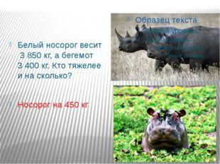 Белый носорог весит 3 850 кг, а бегемот 3 400 кг. Кто тяжелее и на сколько? Н