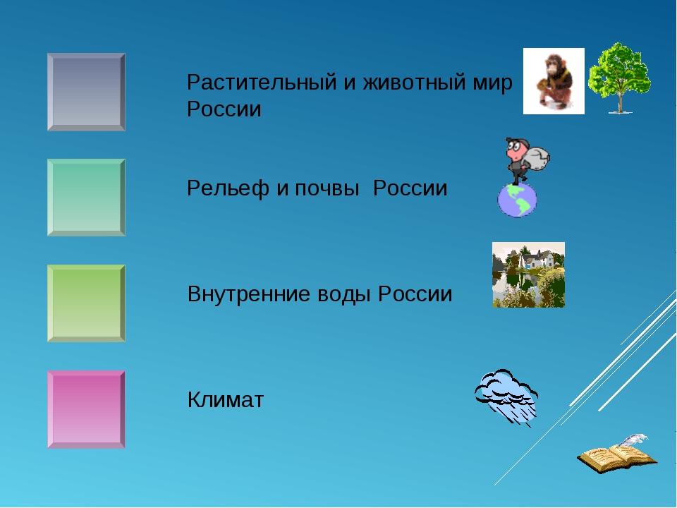 Растительный и животный мир России Рельеф и почвы России Внутренние воды Росс...