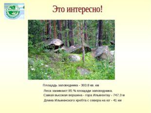 Длина Ильменского хребта с севера на юг - 41км Самая высокая вершина - гора