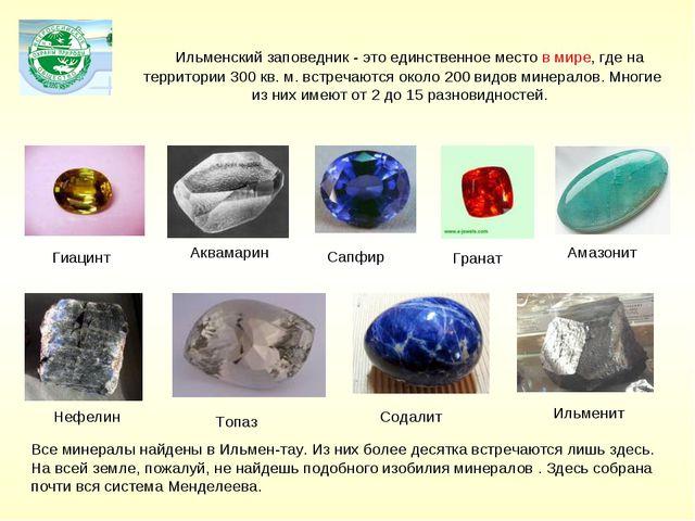 Гранат Аквамарин Сапфир Ильменский заповедник - это единственное место в мире...