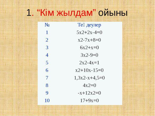 "1. ""Кім жылдам"" ойыны № Теңдеулер 1 5х2+2х-4=0 2 х2-7х+8=0 3 6х2+х=0 4 Зх2-9=..."