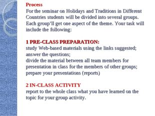Process For the seminar on Holidays and Traditions in Different Countries stu