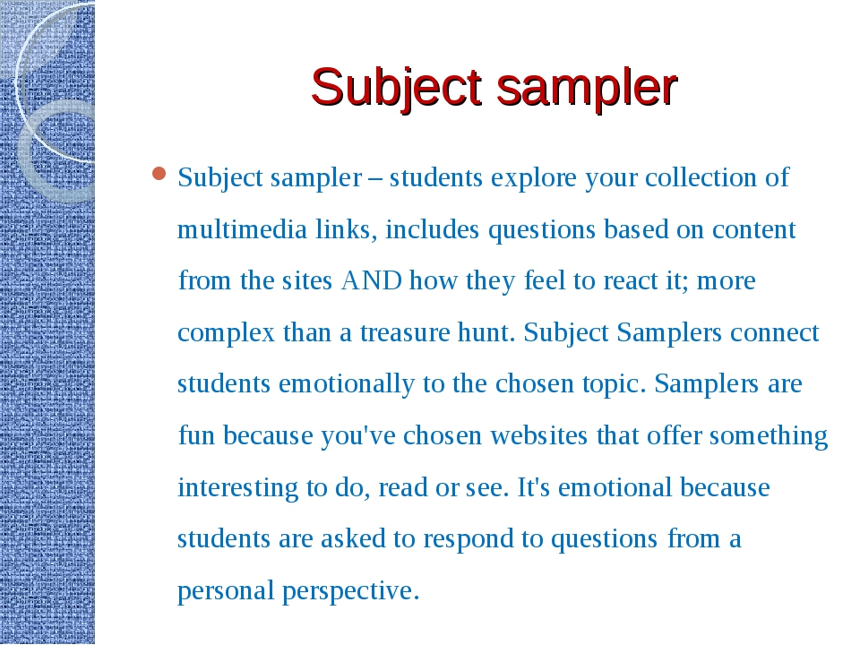 Subject sampler Subject sampler – students explore your collection of multime...