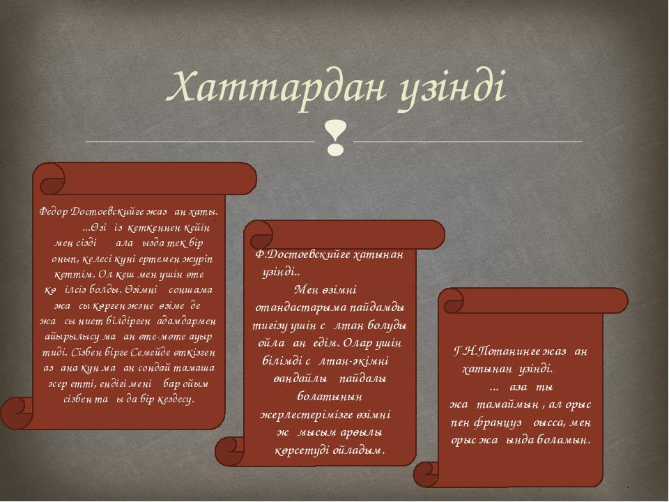Хаттардан үзінді Федор Достоевскийге жазған хаты. ...Өзіңіз кеткеннен кейін м...