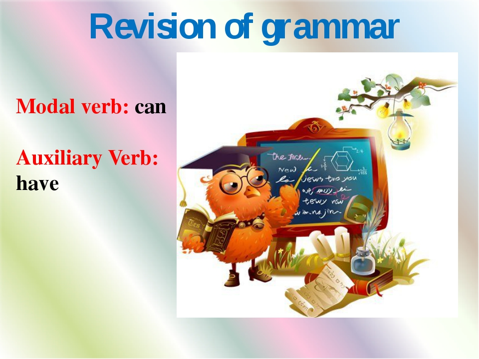 Revision of grammar Modal verb: can Auxiliary Verb: have