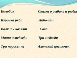 Колобок Сказка о рыбаке и рыбке Курочка ряба Айболит Волк и 7 козлят Сова Маш