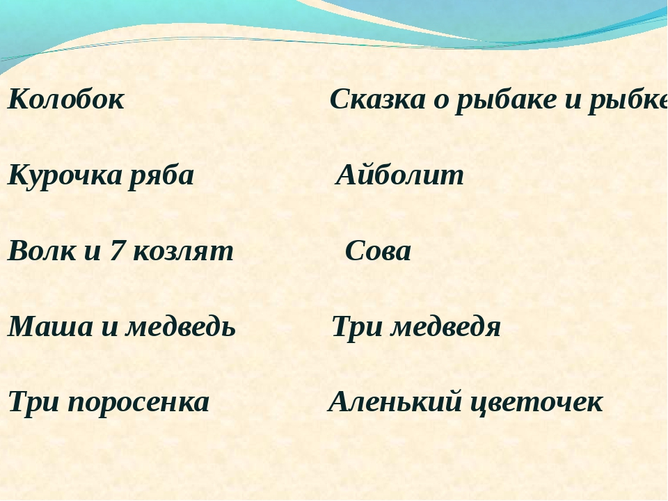 Колобок Сказка о рыбаке и рыбке Курочка ряба Айболит Волк и 7 козлят Сова Маш...