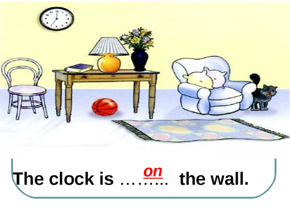 The clock is ……... the wall. on