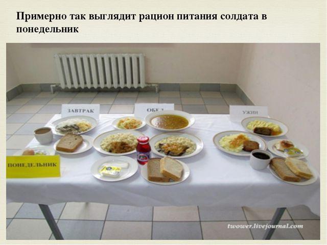 Примерно так выглядит рацион питания солдата в понедельник