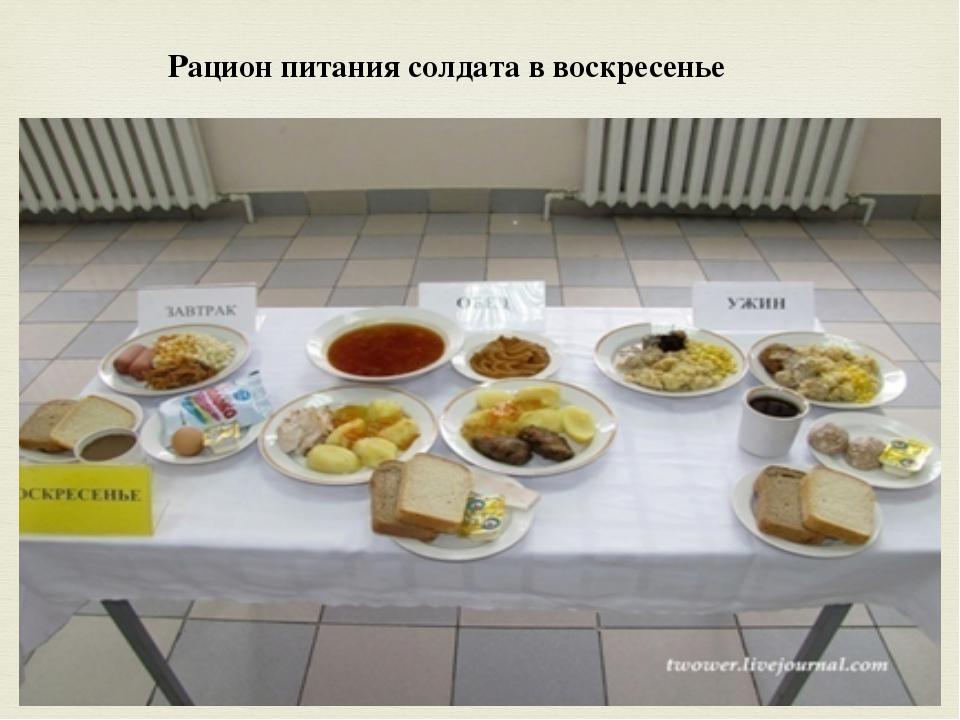 Рацион питания солдата в воскресенье