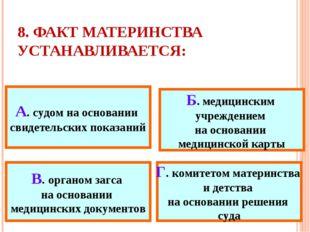 8. ФАКТ МАТЕРИНСТВА УСТАНАВЛИВАЕТСЯ: А. судом на основании свидетельских пока