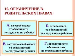 10. ОГРАНИЧЕНИЕ В РОДИТЕЛЬСКИХ ПРАВАХ: А. не освобождает от обязанности по со