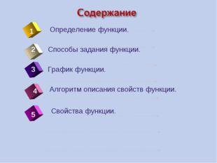 4 Определение функции. 1 2 5 Способы задания функции. График функции. Алгорит