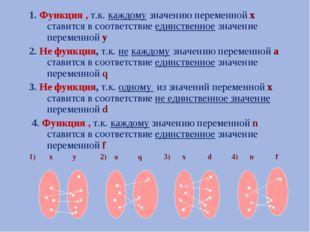 1. Функция , т.к. каждому значению переменной х ставится в соответствие единс