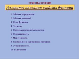 1. Область определения 2. Область значений 3. Нули функции 4. Четность 5. Про