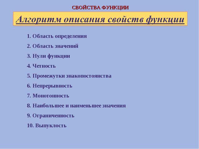 1. Область определения 2. Область значений 3. Нули функции 4. Четность 5. Про...