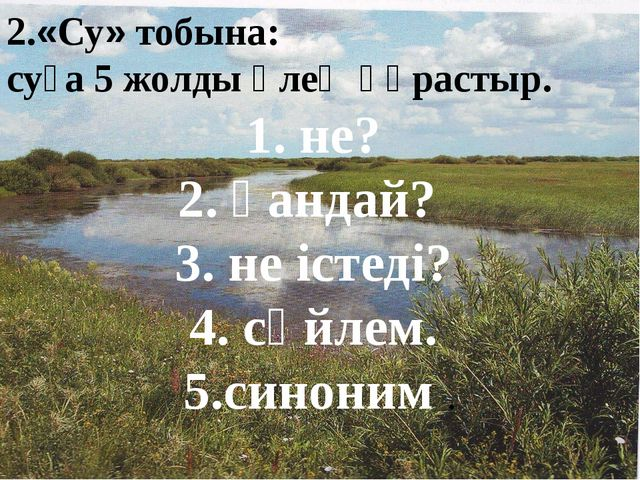 2.«Су» тобына: суға 5 жолды өлең құрастыр. 1. не? 2. қандай? 3. не істеді? 4....
