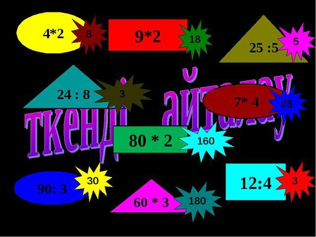 9*2 80 * 2 12:4 4*2 7* 4 90: 3 25 :5 24 : 8 60 * 3     180 160 3 30 8 18...