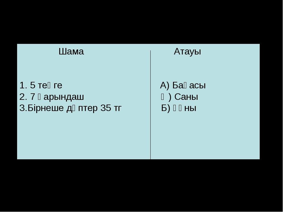 Сәйкестікті анықта Шама Атауы 1. 5 теңге А) Бағасы 2. 7 қарындаш Ә) Саны 3.Бі...