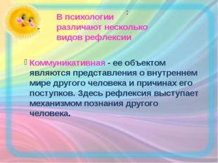 : - В психологии различают несколько видов рефлексии Коммуникативная - ее объ