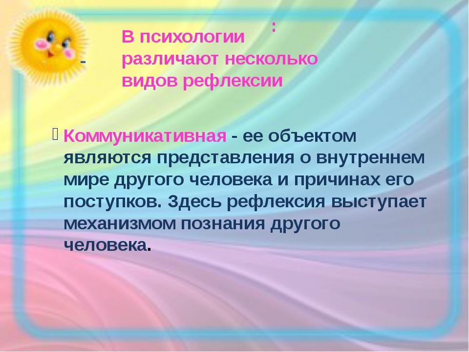 : - В психологии различают несколько видов рефлексии Коммуникативная - ее объ...